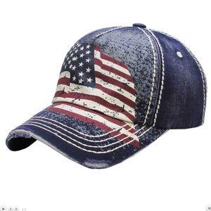 American Flag Print Vintage Style Cap